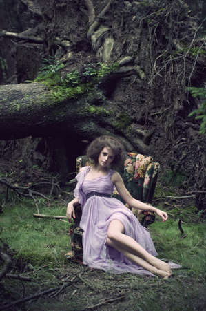 Glamorous woman wearing beautiful dress photo