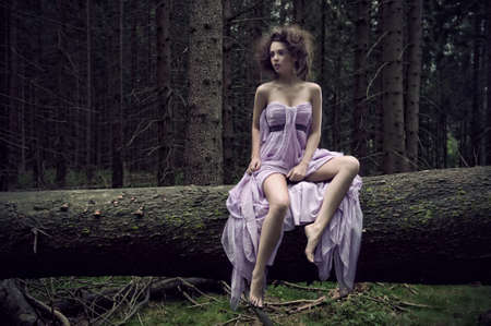 nymphs: Sexy woman in nature scenery
