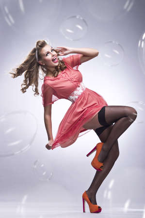 young beautiful pin up woman photo