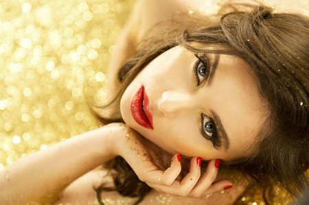 Magic Girl Portrait in Gold  Golden Makeup