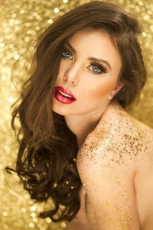 magic eye: Magic Girl Portrait in Gold  Golden Makeup