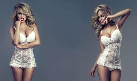 femme en lingerie: Fa?nez la photo de beaux jumeaux sexy Banque d'images