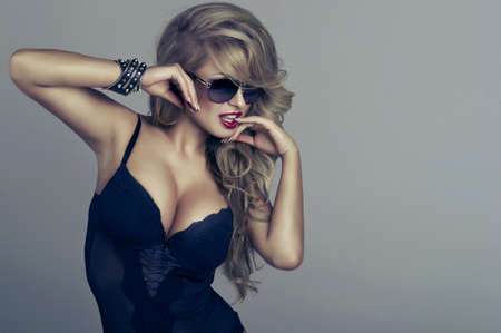 love sexy: vogue style portrait of beautiful delicate woman