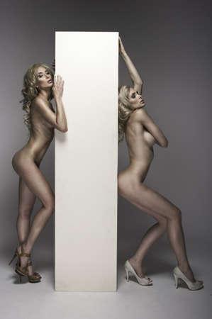 mujeres jovenes desnudas: Dos mujeres desnudas hermosas con la tarjeta Foto de archivo