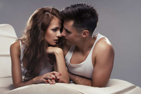 erotic couple: Attractive young lovers