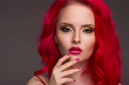 Beautiful Woman with Healthy Red Hair photo