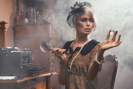 Sexy retro woman with diamond Stock Photo - 22997027