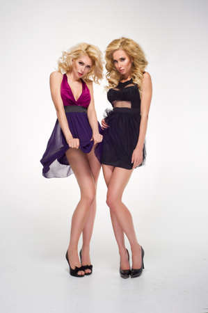 sexy party girl: Two sexy women wearing mini skirts