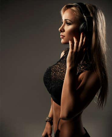 sexy headphones: Sexy woman with headphones Stock Photo