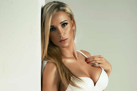sexy nude blonde: Sexy blonde woman in white lingerie