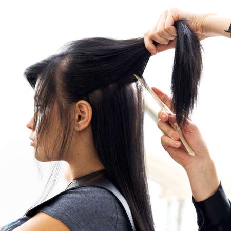 comb hair: Woman in hairdressing salon do hair style