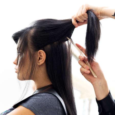 hair dresser: Woman in hairdressing salon do hair style