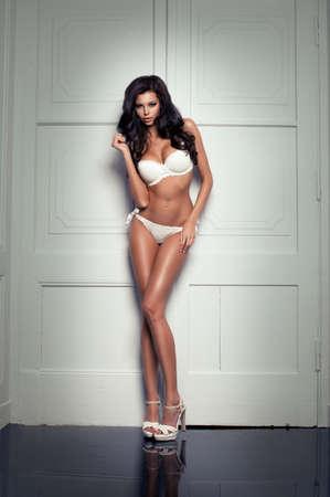 Beauty woman in white underwear Stock Photo