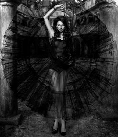 abandoned house window: Beauty sensual woman in black dress