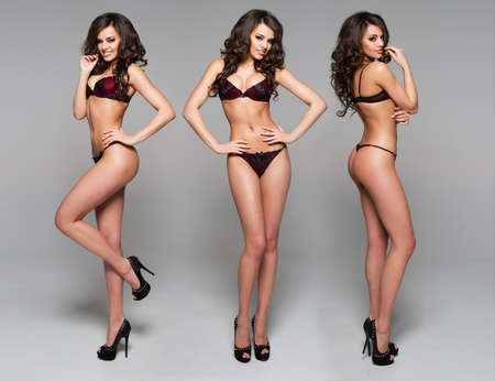 mooie brunette: Mooie gelukkige sexy vrouw Stockfoto