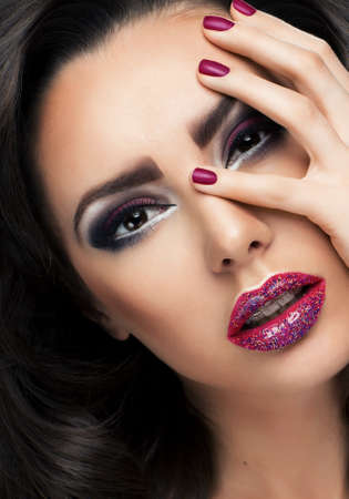Glamour portrait of beautiful woman model with fresh makeup photo