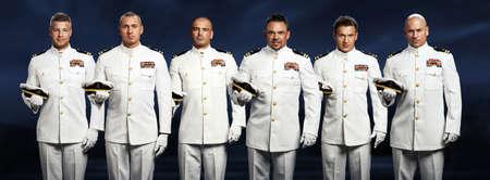 captain ship: group of 6 handsome captain sea ship