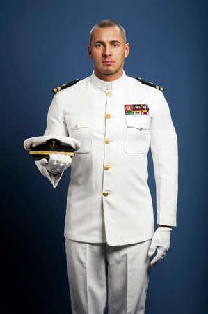 handsome captain sea ship photo