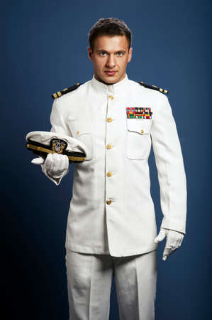 handsome captain sea ship