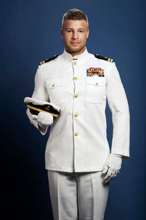 Apuesto capitán de barco mar Foto de archivo - 31752984