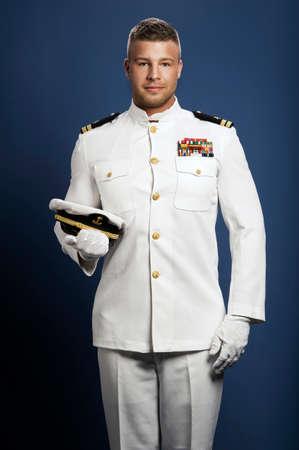 knappe kapitein zeeschip Stockfoto
