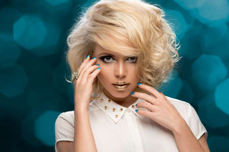 clear skin: Beauty portrait woman with golden makeup and blonde hair