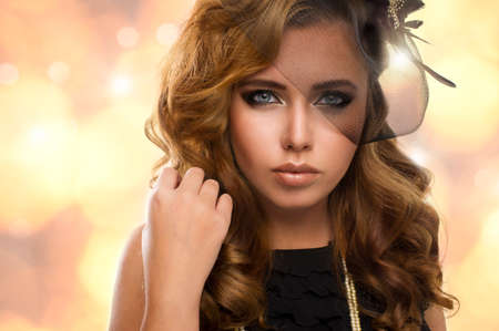 Elegance blonde woman with beauty eyes photo
