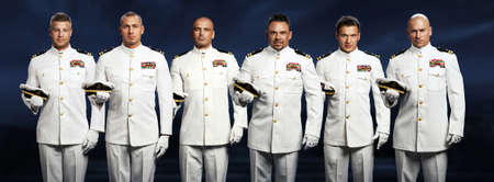 group of 6 handsome captain sea ship photo