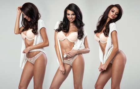 femme brune sexy: Belle femme sexy heureux