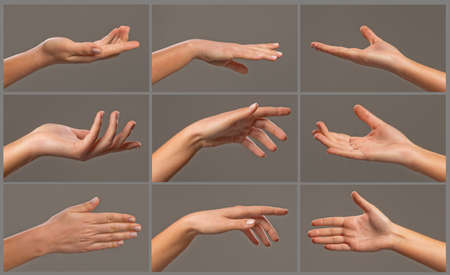 reaching out: Collage of woman hands on grey backgrounds Stock Photo