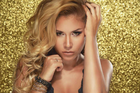 sexy nude blonde: Magic Girl Portrait in Gold. Golden Makeup Stock Photo
