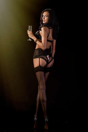 seductive girls: Cute brunette celebrates in evening attire