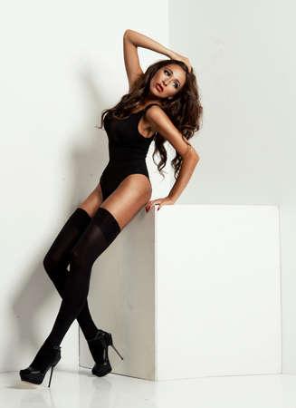 stockings woman: young woman wearing black stockings