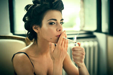 arm chair: Retro style smoking fashion woman portrait on arm chair