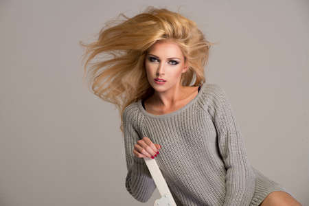 beautiful blonde: Blond beauty wear sweatshirt