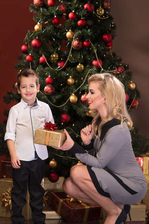 Portrait of beautiful blonde young woman with her little son over christmas background photo