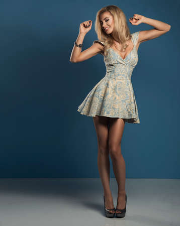 nude sexy girl: Happy woman in blue dress