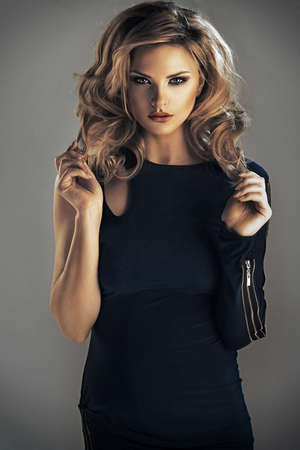 sensual woman: Cute woman in gorgeous dress