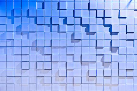 regularly: White and blue background of regularly shaped wooden blocks Stock Photo