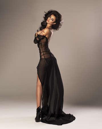 Cute woman in a gorgeous dress