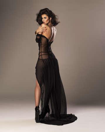 sexy fashion: Cute woman in a gorgeous dress