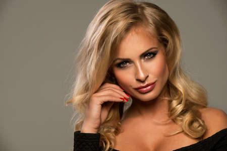 sexy blonde girl: Portrait of beautiful blonde woman Stock Photo
