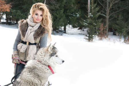 animal fur: Happy young woman playing with siberian husky dogs in winter forest Stock Photo