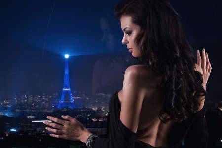 sexy woman: Sexy woman over night city background