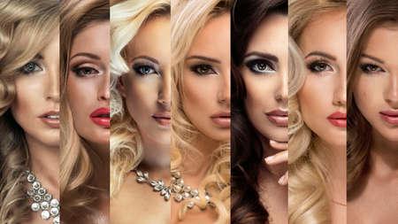 美しさのコラージュ。別メイクで女性の顔のセットします。