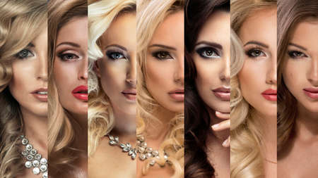 Beauty Collage. Set of Womens Faces with Different Make Up Stok Fotoğraf