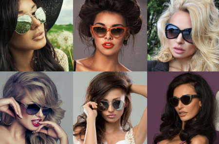 Fashion portrait of a beautiful brunette woman with shot hairstyle with sunglasses - studio photo photo