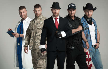 militaire sexy: Diff�rentes professions. Une personne cinq fois Banque d'images