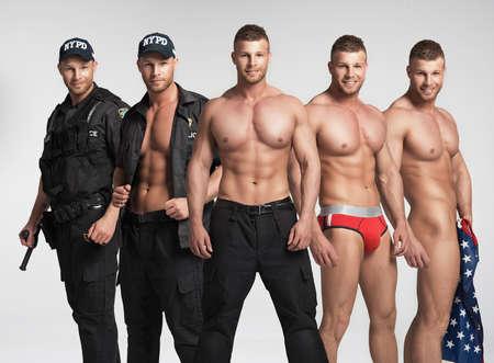 naked black men: Stripease policeman. One person five times Stock Photo