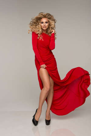 red dress: Cute woman in gorgeous dress